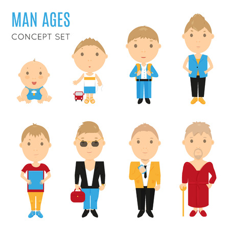 child boy: Set of casual man age flat icons. Vector life aging stage illustration. Cartoon human generation. Male growing  process concept. Baby child, kid, boy, husband, old father, son. Comic people collection