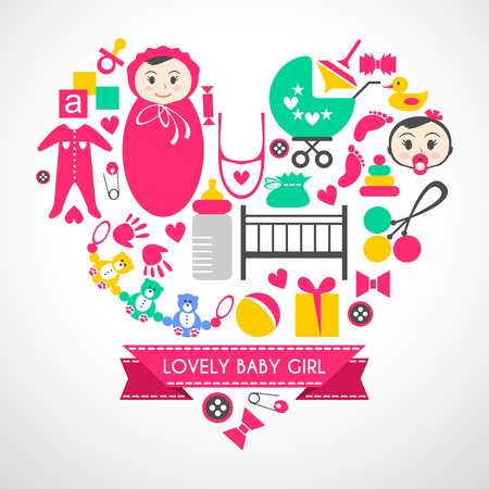 modern design: Newborn baby girl icons set. Cute cartoon items for little girl. Elements for baby shower day. Card design in form of heart. Childish things bed, buggy, clothes, footprint, tracing of hand