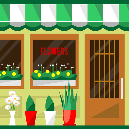 florist: Illustration of a flowers shop. Little cute retro house and store, boutique with green awning. Floral building. Consumer flowerpot. Vector flat style icon. Florist outlet. Lovely plants