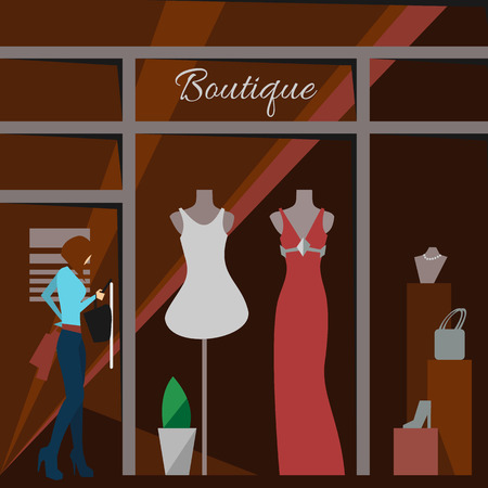 shop show window: Clothing store. Man and woman clothes shop and boutique. Shopping, fashion, bags, accessories. Flat style vector illustration. Modern stylish outlet. Woman silhouette in the show window. Vector Illustration