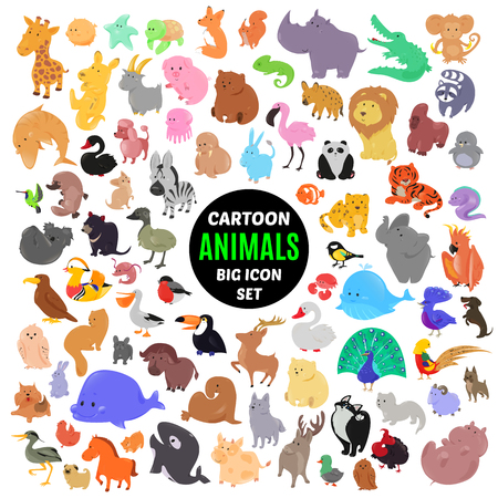 Big set of cute cartoon animal icons isolated on white background. Vector illustration. Child fun pattern sticker. Kids collection. Wild safari fauna design. Sea and bird characters. Funny symbols. Illustration