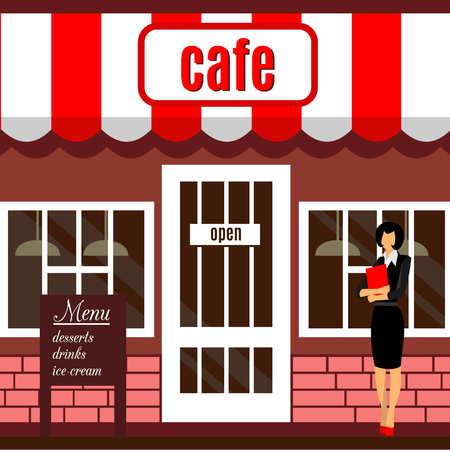 small business woman: Restaurant or cafe illustration in flat style. Isometric dinner building  with waitress and menu board standing nearby. Desserts, drinks, ice-cream. Vector food building icon background. Front view