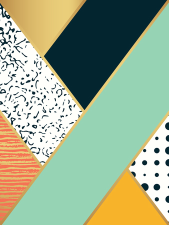 postcard box: Abstract art pattern. Vector illustration for fashion design. Cute shape background. Hand painted texture. Retro backdrop decoration. Decorative box. Brush postcard. Black and white, golden colors.