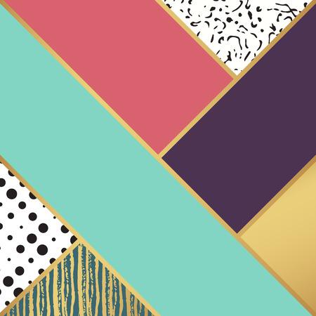 modelo del arte abstracto. Ilustración del vector para el diseño de moda. Fondo lindo de la forma. Pintado a mano de la textura. Decoración contexto retro. Caja decorativa. postal del cepillo. blanco y negro, los colores de oro.
