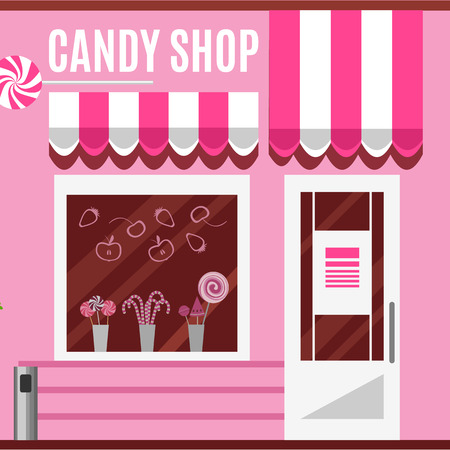 confectionery: Candy shop in a pink color. Flat design vector illustration of small business concept.Tasty candies in a store window. Lollipops boutique. Stylish sweets outlet. Confectionery retail. Cute desserts. Illustration
