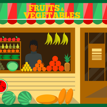 food shop: Fruits and vegetables shop. Man silhouette in a store window. Green grocery stall. Food mall vector illustration. Banana, apple, orange, lime, pumpkin. Promotion of healthy eating concept. Illustration