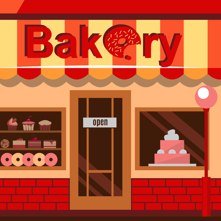 baked goods: Bakery building with cakes, donuts and pies in the shop windows. Illustration of a house selling baked goods and pastry. Vector flat style design icon background. Illustration
