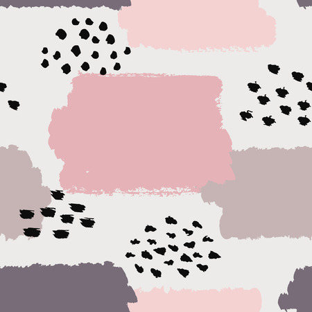 retro postcard: Abstract seamless pattern. Vector illustration for fashion design. Cute repeating background. Hand painted texture. Retro backdrop decoration. Decorative fabric. Brush postcard. Pink and white colors.