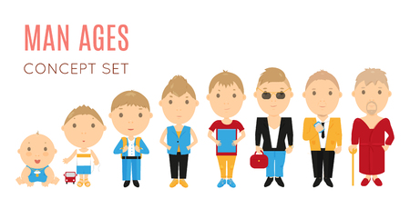 human age: Set of casual man age flat icons. Vector life aging stage illustration. Cartoon human generation. Male growing  process concept. Baby child, kid, boy, husband, old father, son. Comic people collection