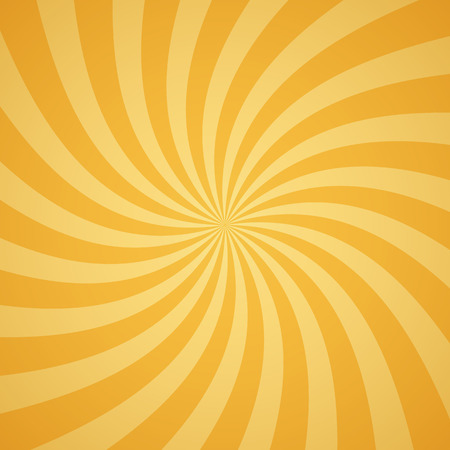 orange abstract: Swirling radial pattern background. Vector illustration for summer circus design. Vortex starburst spiral twirl square. Helix rotation rays. Converging yellow scalable stripes. Fun sun light beams.