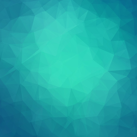 Abstract teal geometric triangle background. Vector illustration for modern design. Green blue colors. Aqua water ice crystal. Bright poster. Decorative graphic mosaic texture. Retro wallpaper.