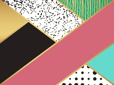 box design: Abstract art pattern. Vector illustration for fashion design. Cute shape background. Hand painted texture. Retro backdrop decoration. Decorative box. Brush postcard. Black and white, golden colors.