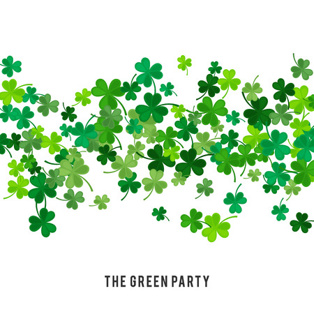 lucky clover: St Patricks Day background. illustration for lucky spring design with shamrock. Green clover wave border isolated on white background. Ireland symbol pattern. Irish header for web site.