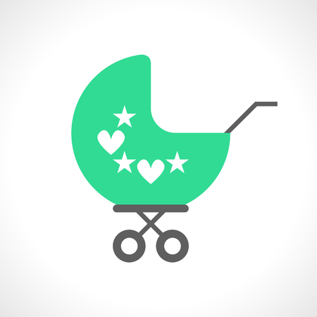 perambulator: Illustration of baby pram icon isolated on white background. Flat style. Carriage for a little child. Stroller for a kid. Perambulator. Transportation unit. Small cartoon trolley. design
