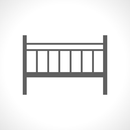 babe: Baby cot icon isolated on white background. Portable camp bed. Collapsible. Newborn furniture. Wooden cradle. Mobile bed icon. For posters, babe shower greeting and invitation cards.