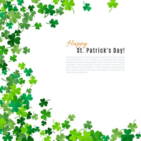 stpatrick: St Patricks Day background. illustration for lucky spring design with shamrock. Green clover border and frame isolated on white background. Ireland symbol pattern. Irish header for web site.