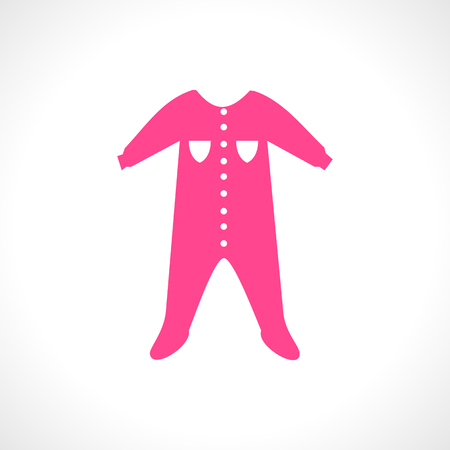 romper suit: illustration of a pink jumpsuit. Sleep and play suit. One piece item. Background with dungarees for little toddler. Newborn child icon. Baby shower invitation card for a girl. Postcard
