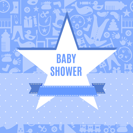 baby boys: Baby shower card in blue color. Arrival postcard for boys with star place for your text. Invitation on newborn toddler birthday. Vector illustration. Cute pretty tender invite poster flyer template.