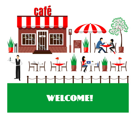 commercial tree service: Restaurant or cafe illustration in flat style. Isometric  dinner building  with waitress and menu board standing nearby. Desserts, drinks, ice-cream. Vector icon isolated on white background Illustration