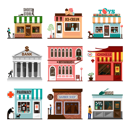 Set of flat shop building facades icons. Vector illustration local market store design. Street restaurant, retail, shoes stall, ice cream, toys game, bank, chinese, pharmacy, barber, music. App sign Vettoriali