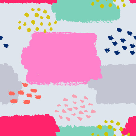 grey background texture: Abstract seamless pattern. Vector illustration for fashion design. Cute repeating background. Hand painted texture. Retro backdrop decoration. Decorative fabric. Brush postcard. Pink and grey colors. Illustration