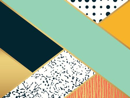 arte abstracto: modelo del arte abstracto. Ilustración del vector para el diseño de moda. Fondo lindo de la forma. Pintado a mano de la textura. Decoración contexto retro. Caja decorativa. postal del cepillo. blanco y negro, los colores de oro.