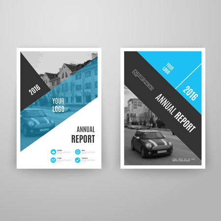 page design: Abstract blue brochure template with icons. Annual report design. Leaflet flyer cover. A4 size. Book layout. Vector illustration. Business page. Concept graphic magazine. Corporate booklet document.