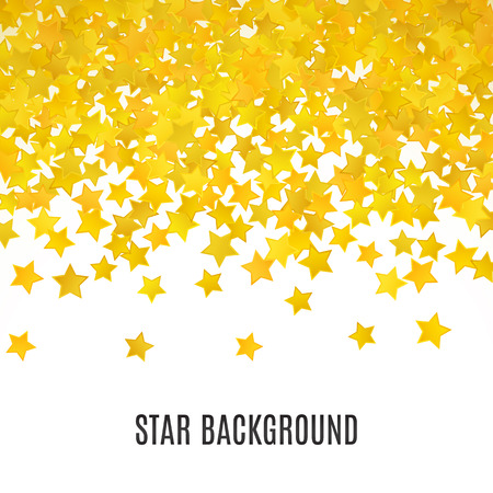 yellow: Abstract yellow star background. Vector illustration for gold design. Golden color. Shiny decoration. Symbol celebration. Holiday award shape. Bright banner and frame. Confetti wallpaper element.