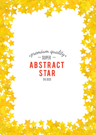 xmas background: Abstract yellow star background. Vector illustration for gold design. Golden color. Shiny decoration. Symbol celebration. Holiday award shape. Bright banner and frame. Confetti wallpaper element.