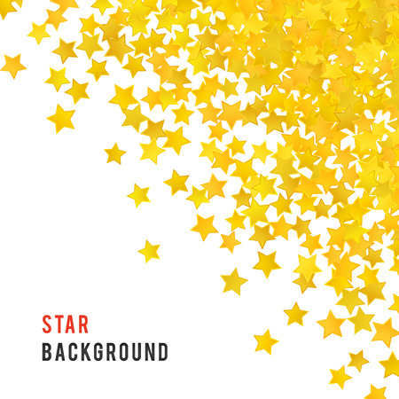 holiday symbol: Abstract yellow star background. Vector illustration for gold design. Golden color. Shiny decoration. Symbol celebration. Holiday award shape. Bright banner and frame. Confetti wallpaper element.