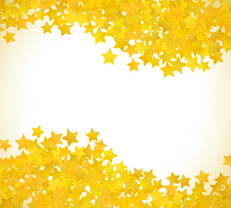 star award: Abstract yellow star background. Vector illustration for gold design. Golden color. Shiny decoration. Symbol celebration. Holiday award shape. Bright banner and frame. Confetti wallpaper element.