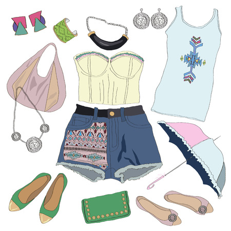 fashion collection: Tribal clothes collection for young women girl. Vector illustration fashion design. Cute pretty summer hand drawn set isolated on white background. Ethnic mexican pattern. Aztec stripe element print.
