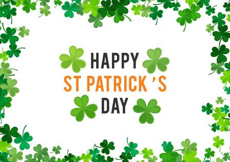 St Patricks Day background. illustration for luck spring design with shamrock. Green clover border, horizontal frame isolated on white background. Ireland symbol pattern. Irish header for web.