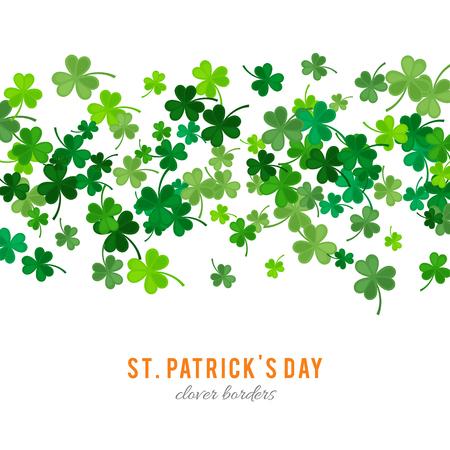stpatrick: St Patricks Day background. illustration for lucky spring design with shamrock. Green clover stripe border isolated on white background. Ireland symbol pattern. Irish header for web site. Stock Photo