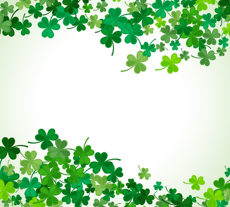 luck of the irish: St Patricks Day background. illustration for lucky spring design with shamrock. Green clover wave border isolated on white background. Ireland symbol pattern. Irish header for web site.