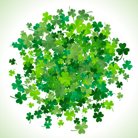St Patricks Day background. illustration for lucky spring design with shamrock. Green clover border and round frame isolated on white background. Ireland symbol pattern. Irish header for web.
