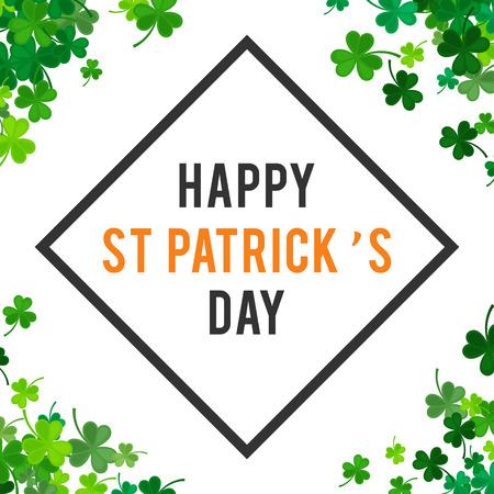 irish background: St Patricks Day background. illustration for lucky spring design with shamrock. Green clover border and square frame isolated on white background. Ireland symbol pattern. Irish header for web.