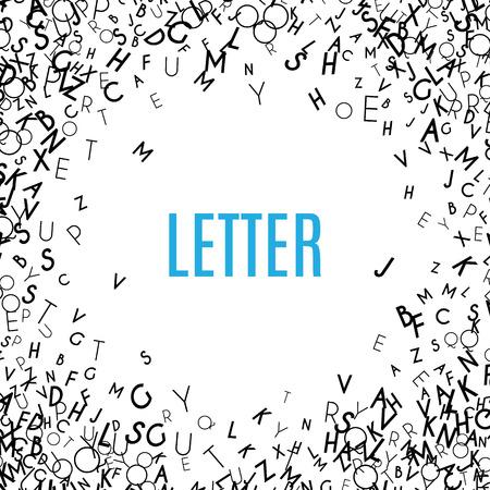 marcos decorativos: Alfabeto abstracto negro del ornamento del marco aislado en el fondo blanco. ilustración para el diseño de estudios de educación. letras al azar que vuelan alrededor. concepto de libro del alfabeto para la escuela primaria