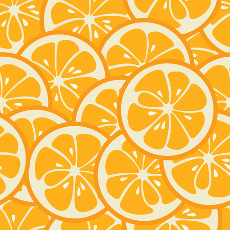 abstract illustration: Cute seamless pattern with orange slices. Tasty summer background. Yummy tropical fruits endless texture. Can be used for wallpapers, banners, posters. Delicious healthy fruits. illustration