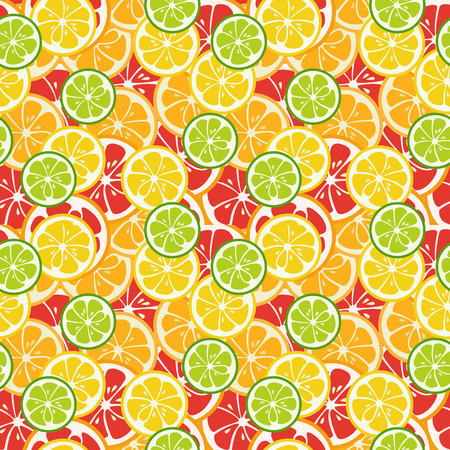mandarins: Striped seamless pattern with lime, orange and grapefruit. Tasty summer background. Yummy tropical fruits endless texture. Can be used for wallpapers, banners, posters. illustration