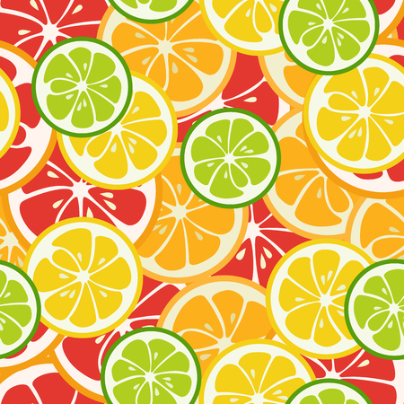 striped wallpaper: Striped seamless pattern with lime, orange and grapefruit. Tasty summer background. Yummy tropical fruits endless texture. Can be used for wallpaper, banner, poster. illustration