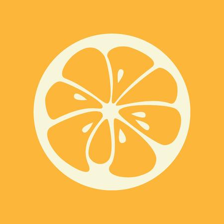slice: Orange logo. Logotype for citrus company. Refreshing yummy tropical summer fruit. Cocktail ingredient. design illustration
