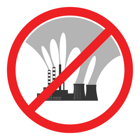 environmental disaster: Stop air pollution sign. Conceptual illustration showing the polluted smoke from a factory chimney over a city. Ecological disaster. City smog. Toxic waste. Environmental protection