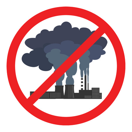 Stop air pollution sign. Conceptual illustration showing the polluted smoke from a factory chimney over a city. Ecological disaster. City smog. Toxic waste. Environmental protection