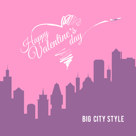 valentines: Valentine card city landscape with skyscrapers silhouettes. Plane writes Happy Valentines day in the sky. Love is in the air. Greeting card design. For posters, banners, invitations.