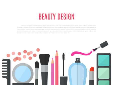 make up brushes: Make up concept flat illustration with cosmetics, makeup table, mirror, make-up brushes, perfume, nail polish and comb are laid out in row. Beauty concept design isolated on white background. Stock Photo