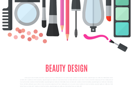 comb out: Make up concept flat illustration with cosmetics, makeup table, mirror, make-up brushes, perfume, nail polish and comb are laid out in row. Beauty concept design isolated on white background. Stock Photo