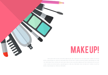 beauty make up: Make up flat illustration with lipstick, comb, brush, palette, perfume in women purse. Beauty design isolated on white background. Make-up artist objects. Cosmetic bag. Corner composition.