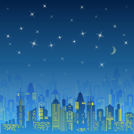 moon  metropolis: City urban design. Night landscape. Cityscape silhouette in the evening. Modern city design with luxurious skyscrapers. Buildings on the dark sky background with moon and stars. illustration