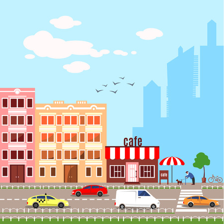 busy city: Flat design illustration icons set of urban landscape and city life. Modern skyscraper silhouettes on the background. Busy traffic. Cityscape pattern. Colorful buildings. Cute cars. Stock Photo